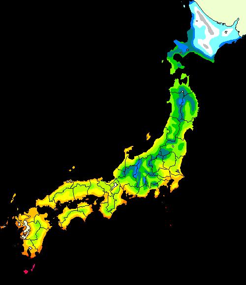 植物の耐寒性 カンボー都市緑化研究所 - Japan hardiness zone map